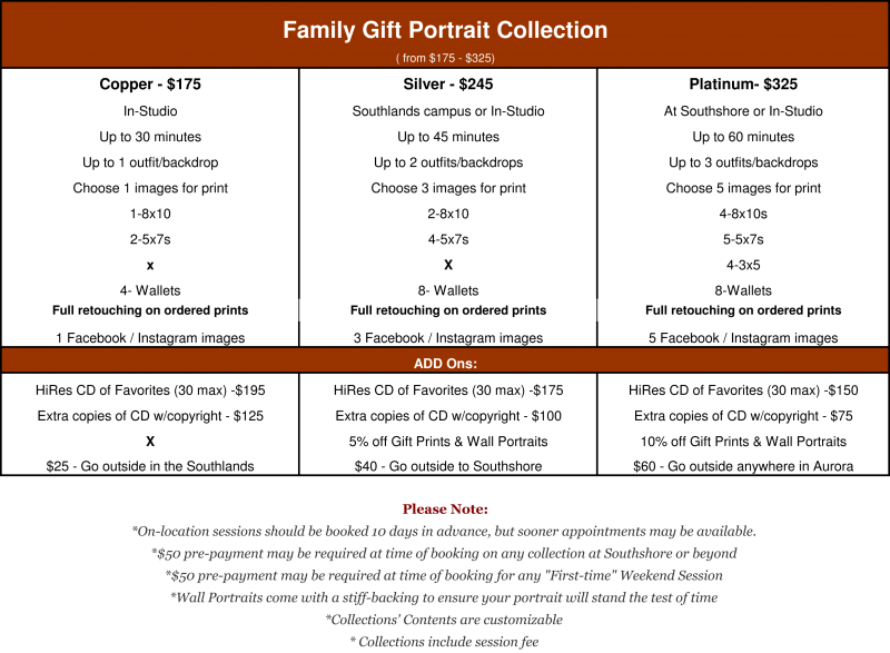 The Gift Portrait Collection includes 8x10 & smaller prints.