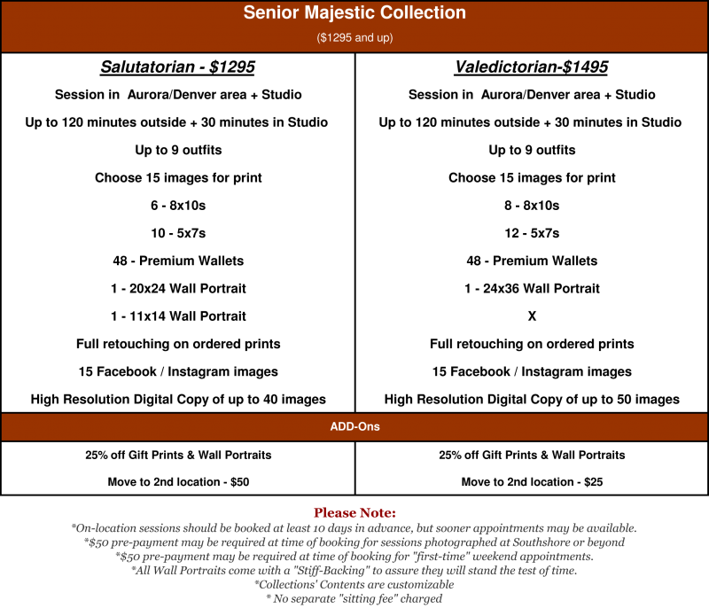 The Senior Majestic Collection is our finest: from $1295