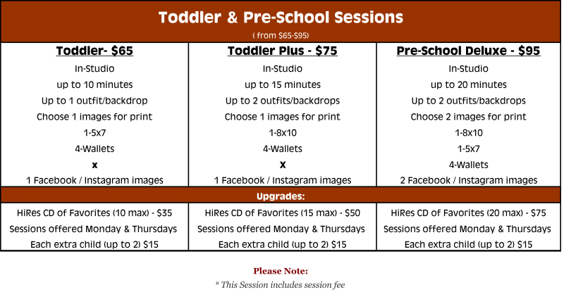 Toddler and Pre-schooler packages from $65