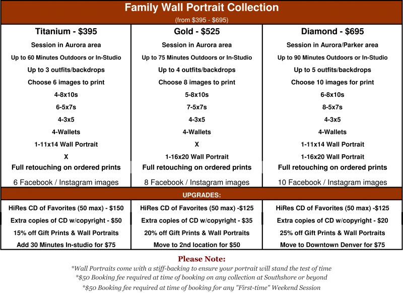 The Wall Portrait Packages includes either 11x14 or 16x20 prints